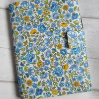 A5 Reusable Notebook Cover, Fabric Notebook - Blue & Yellow Floral Print