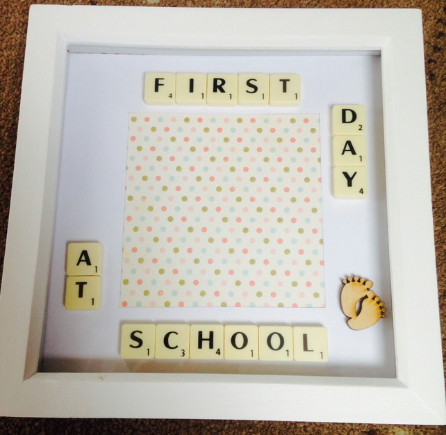 Handmade first day at school photo frame - Folksy