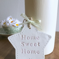 Handmade white clay 'Home Sweet Home' Star Plaque