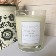Handmade Candle - Sweet Pea and Lemon Candle