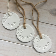 Handmade Set of Tea, Coffee and Sugar tags