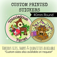 CUSTOM PRINTED STICKERS ( x120 40mm printed)