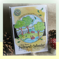 Fairy Toadstool Theme - Any Year - POSTCARDS CALENDAR with Matching Stickers