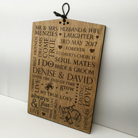 Wedding Gift Personalised Oak Wooden Plaque Sign - Bride And Groom Present