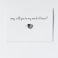 Personalised Will You Be My Maid of Honour? Button Card