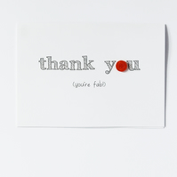 Thank You (you're fab!) Button Card