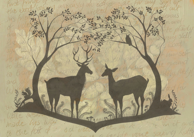 Wedding - civil ceremony - card - greetings card - woodland design - wildlife