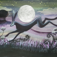 Hare picture - limited edition print - silver leaf - wildlife - moon gazing hare