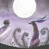 The Hare & the Moon - original art - moon gazing hare - Easter gift idea!