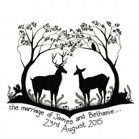 personalised - Stag & Doe design - wedding card - civil ceremony card - woodland