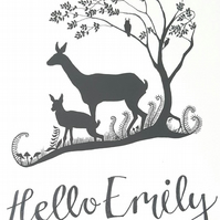 Personalised - new baby - print - woodland design - picture - nursery - art