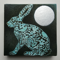 Hare and moon - artwork - painting - Moon Gazing Hare - animal picture