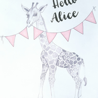 personalised - giraffe - illustration - new baby - nursery - print
