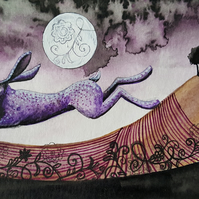Mystical Hare & Moon - original artwork - with frame & mount - moon gazing hare