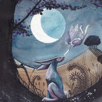 The Meeting - Hare - fairy picture - original artwork - moon gazing hare