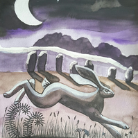 Avebury Hare - original artwork - framed - hare painting - Christmas gift idea