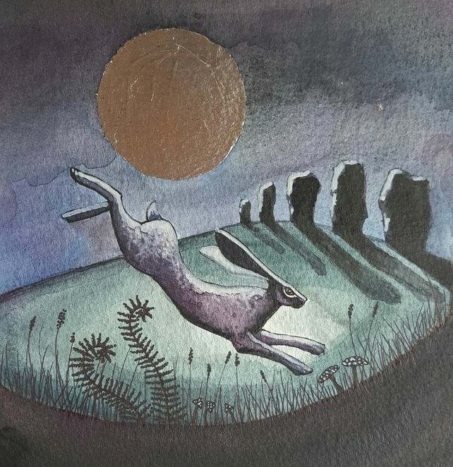 Standing Stone Leaping Hare - original artwork - wildlife - moon gazing hare