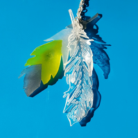 Feather Necklace - angel feather - contemporary design - stocking filler idea!