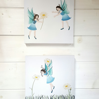 Fairies & Flowers - double canvas prints - nursery artwork - fairies