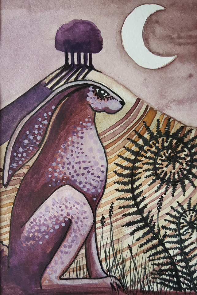 The Hare - original artwork - moon gazing hare - great Christmas present!