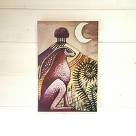The Hare - print on canvas - moon gazing hare -great alternative Easter present!