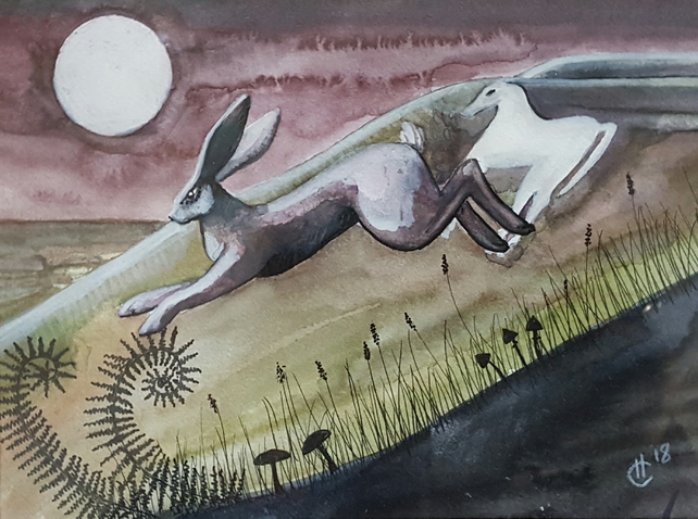 Horse & Hare - original artwork - moon gazing hare - watercolour - white horse