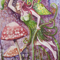 Fairy & Toadstools - original artwork - fairies - gifts for girls - Christmas