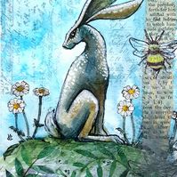Bumblebee and Hare - original artwork - animal illustration -Christmas gift idea