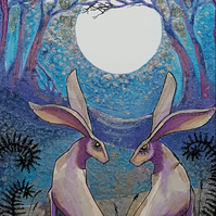 The Lovers - ideal wedding  present - print - moon gazing hare - hare