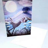 Leaping Hare - greetings card - blank inside - birthday card - new home card