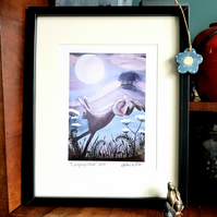 Leaping Hare - A4 Print - moon gazing hare - new home gift idea