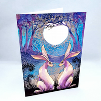 The Lovers - greeting card - moon and hares - wedding - blank for your message