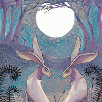 The Lovers - hare print - wedding gift idea - moon gazing hare- anniversary