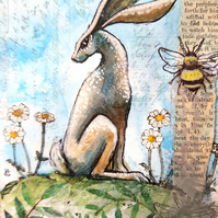 Bumblebee and Hare - birthday gift idea  - illustration - hares - bees