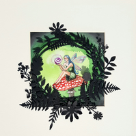 Fairy watercolour -3D paper foliage - nursery art - original artwork - fairies