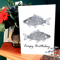 Carpy Birthday - birthday card - fisherman - carp fishing - fish card