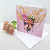Boho deer with head dress - greetings card - blank inside - woodland - deer art