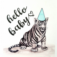 Personalised Nursery art - tiger art - new baby gift - Christening present