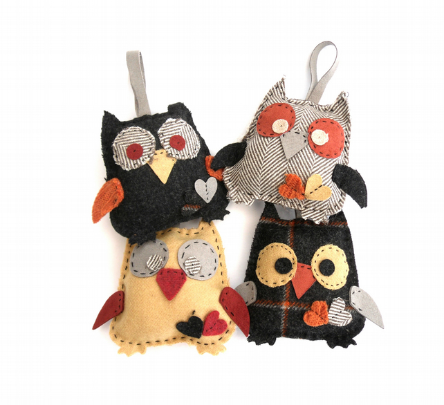 Felt Owl hanging ornament hand sewn from recycled wool