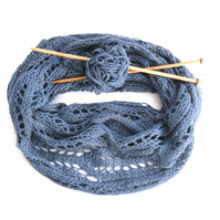 Infinity Scarf Knitting Pattern,  Chunky Lace Cowl Scarf