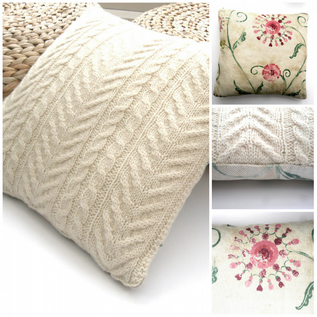 Hand knit Wool cushion cover . One side knitted , the other pretty linen