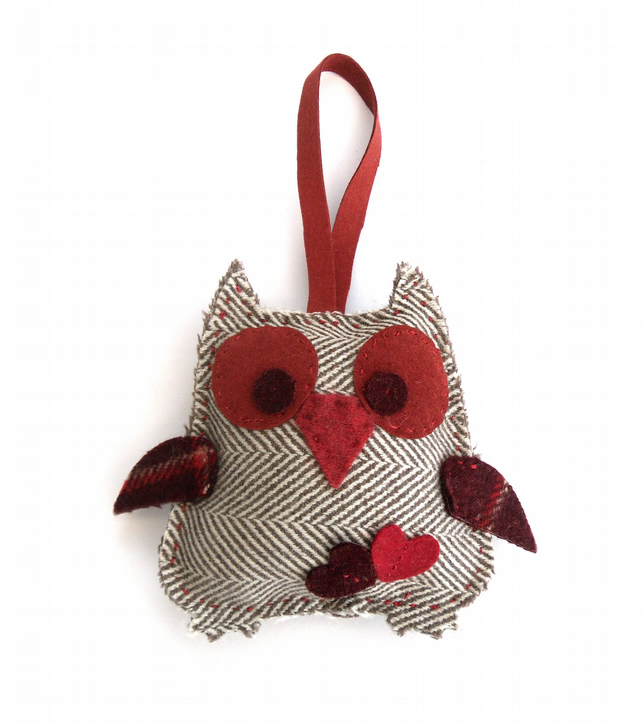 Felt owl decoration , Recycled wool hanging ornament