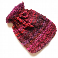 Wool hot water bottle cover , chunky hand knit