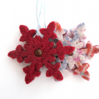 Red snowflake ornaments set of 2