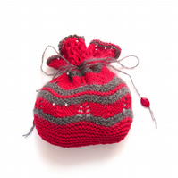 Mohair drawstring bag ,  red & grey lace bag