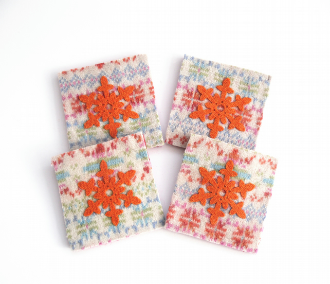 Snowflakes - felted wool coasters made out recycled wool , set of 4