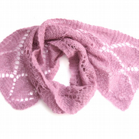 Pink mohair lace scarf