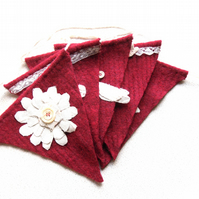 Red Wool Bunting with applique flowers & butterfiles