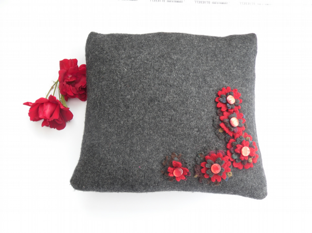 Grey felt cushion cover with red flowers