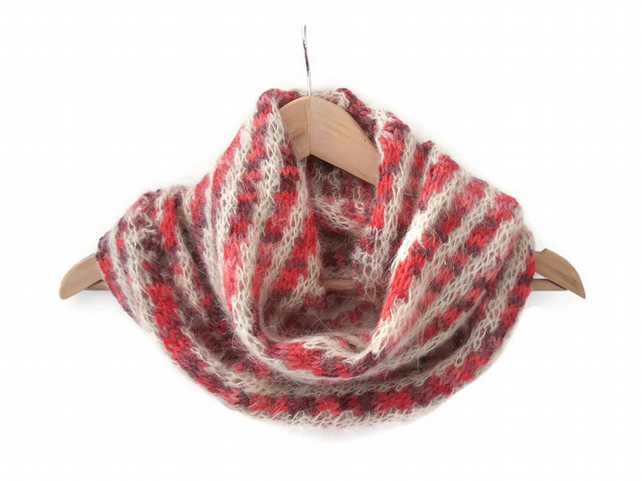 Pink Cream diagonally striped infinity scarf